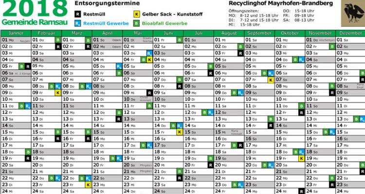Abfallterminkalender 2018