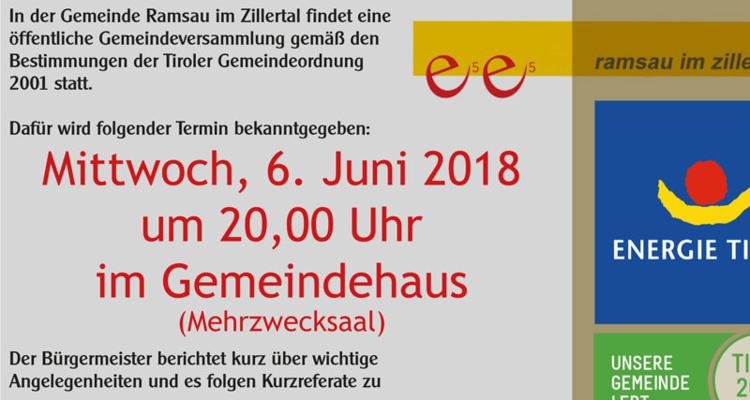 Öffentliche Gemeindeversammlung am 6. Juni 2018