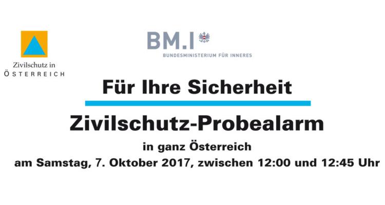 Zivilschutzprobealarm am Samstag, 7. Oktober 2017
